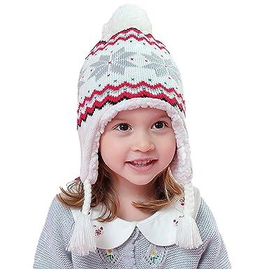 Amazon.com  Kids Baby Soft Thick Warm Snowflake Cap Boy Girls Fleece Lining Earflap  Beanie Hat  Clothing 0a1251ec565d