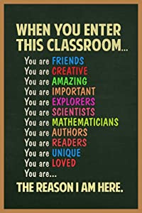 When You Enter This Classroom Sign Educational Rules Cool Wall Teacher Supplies for Classroom School Decor Teaching Toddler Kids Elementary Learning Decorations Cool Wall Decor Art Print Poster 24x36