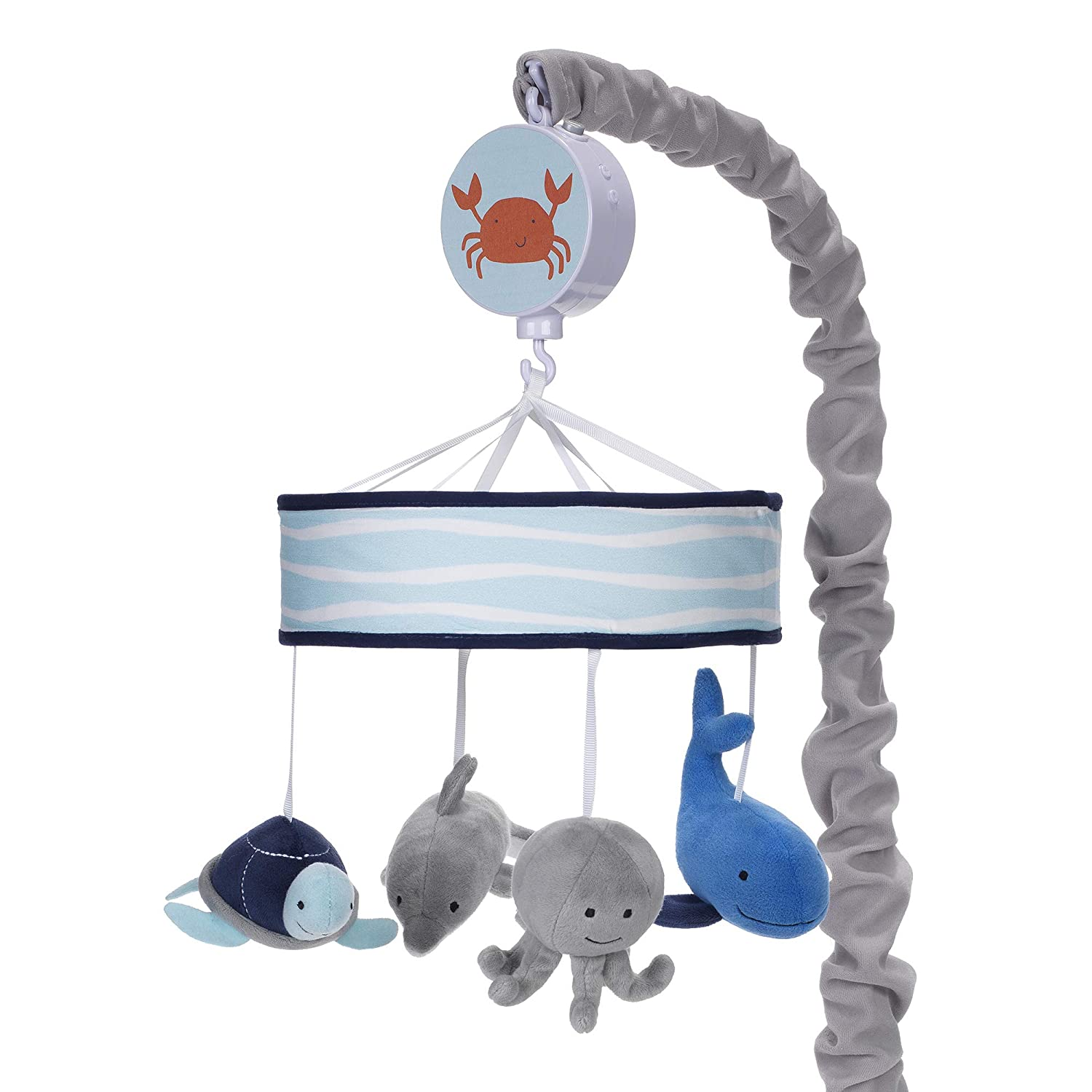 Blue Aquatic White Lambs /& Ivy Ocean Blue Musical Baby Crib Mobile Animals