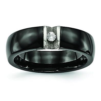 30a5b587d62bb5 Stainless Steel Polished   Laser Cut Black Ceramic CZ Ring  SR558-5 BR Polished