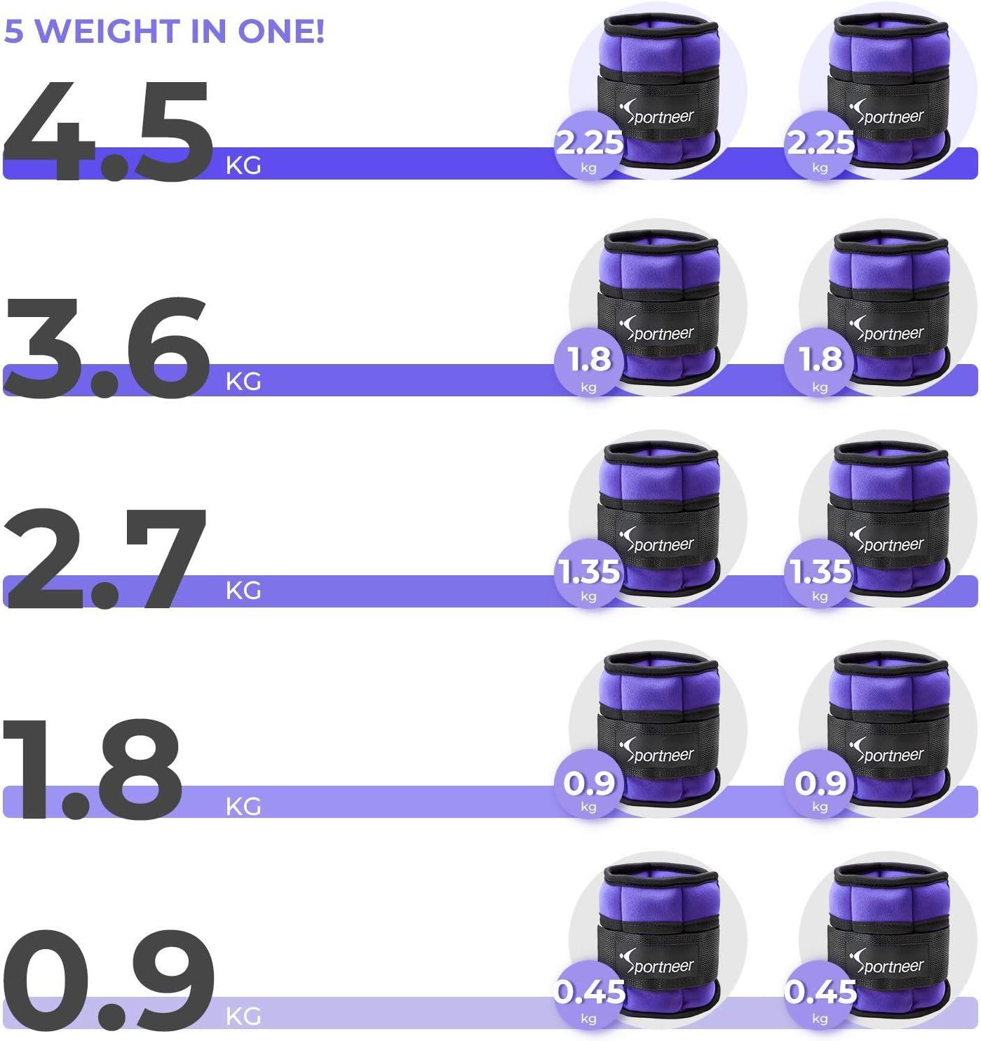 Verstellbares Fu/ßgelenkgewichte Set Sportneer Gewichtsmanschetten Fu/ß-//Handgelenkgewicht Manschett