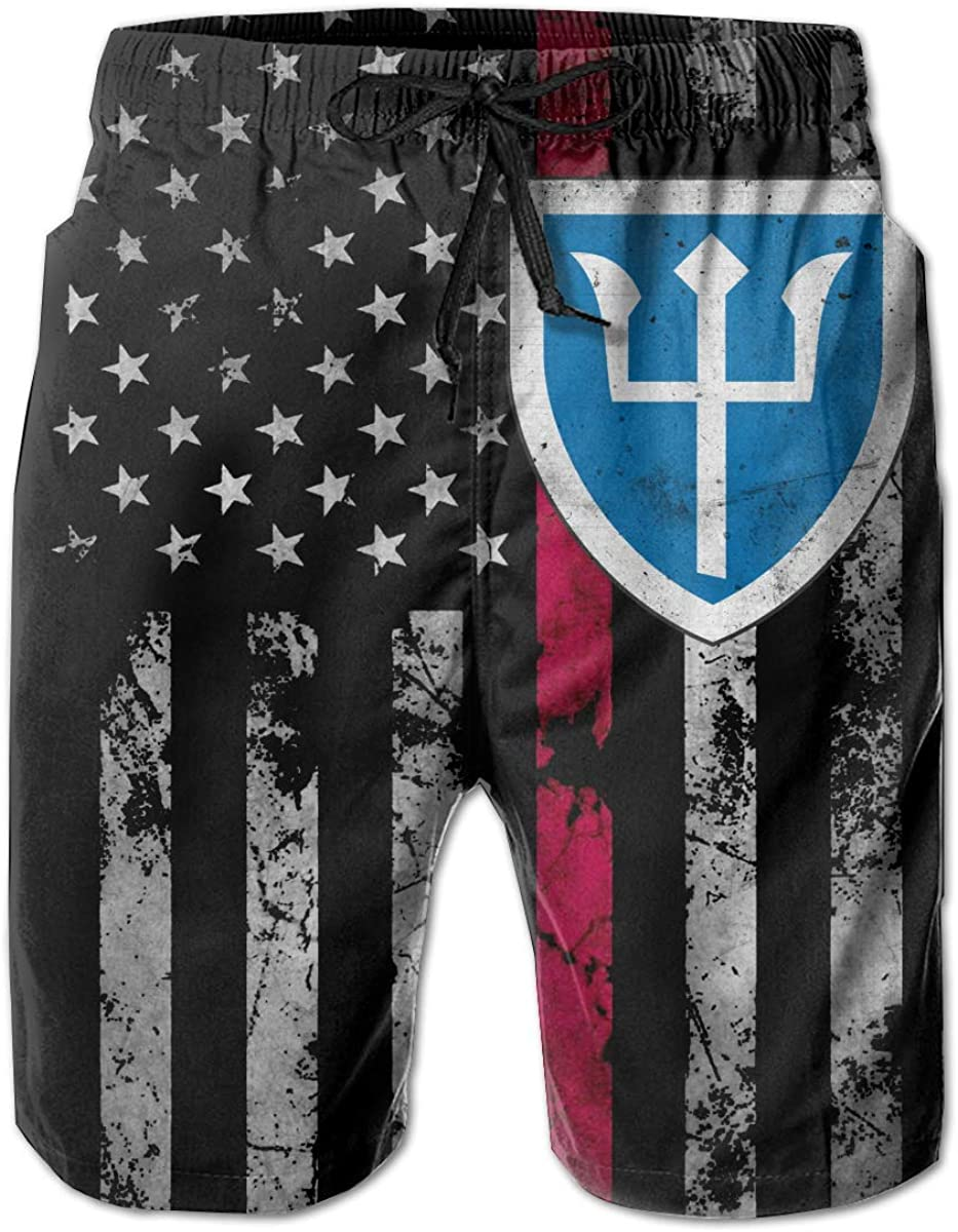US Army Retro Growler with 97th Infantry Division Mens Beach Shorts Swim Trunks Casual Shorts Workout Shorts