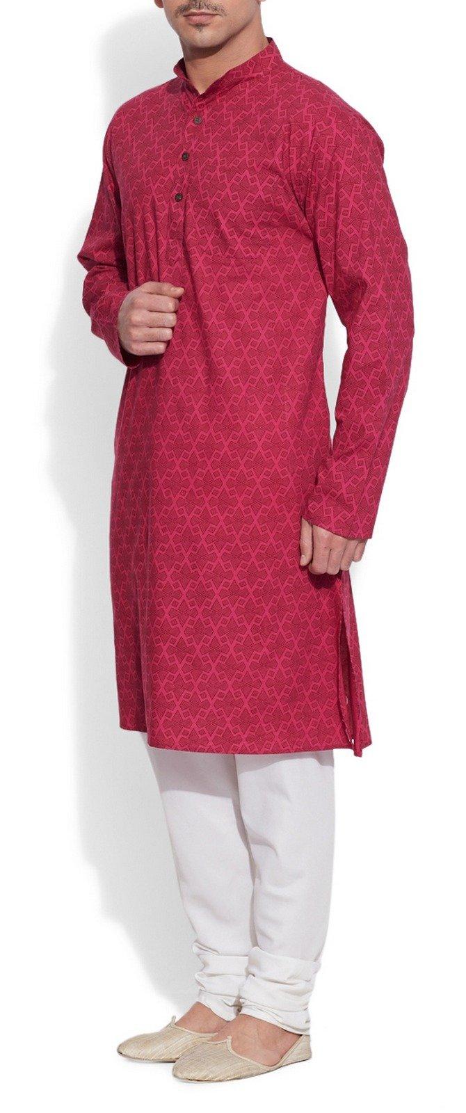 ShalinIndia Cotton Long Nehru Collar Indian Mens Kurta Shirt 3 pockets Magenta 46 by ShalinIndia (Image #5)