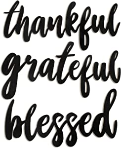 Jetec 3 Pieces Thankful Grateful Blessed Word Sign Wall Decor Wood Cutout, Unfinished Rustic Thanksgiving Home Decoration Wall Decoration Art for Indoor, Outdoor, Living Room and Bedroom