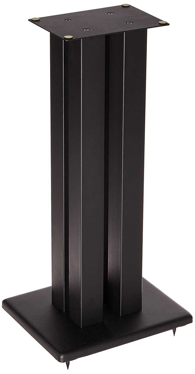 Monolith 24 Inch Speaker Stand (Each) - Black | Supports 75 lbs, Adjustable Spikes, Compatible with Bose, Polk, Sony, Yamaha, Pioneer and Others 124794