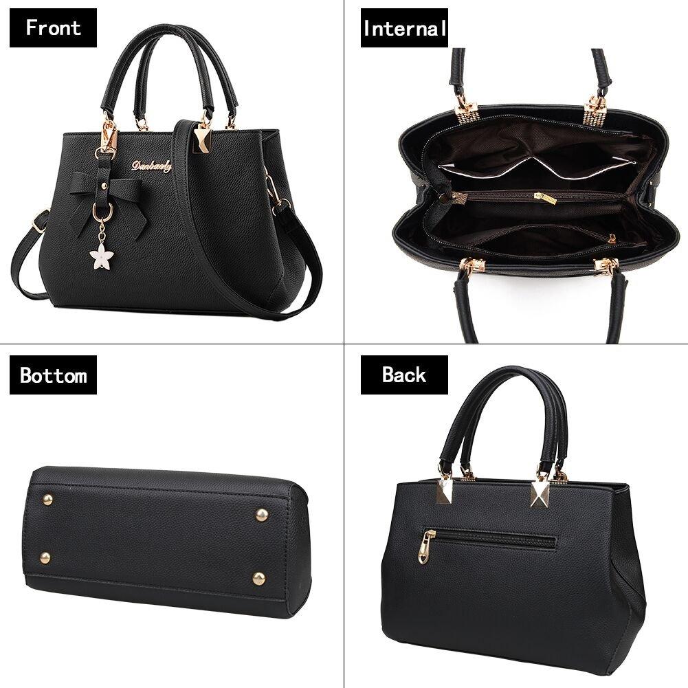 981f480c1b Amazon.com  Women s Leather Handbags Fashion Handbags for Women Ladies Bags  Handbags Black  Clothing