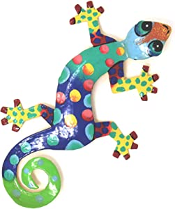 """Global Crafts 8"""" Painted Gecko Recycled Haitian Metal Wall Art Blue Green, Florida"""