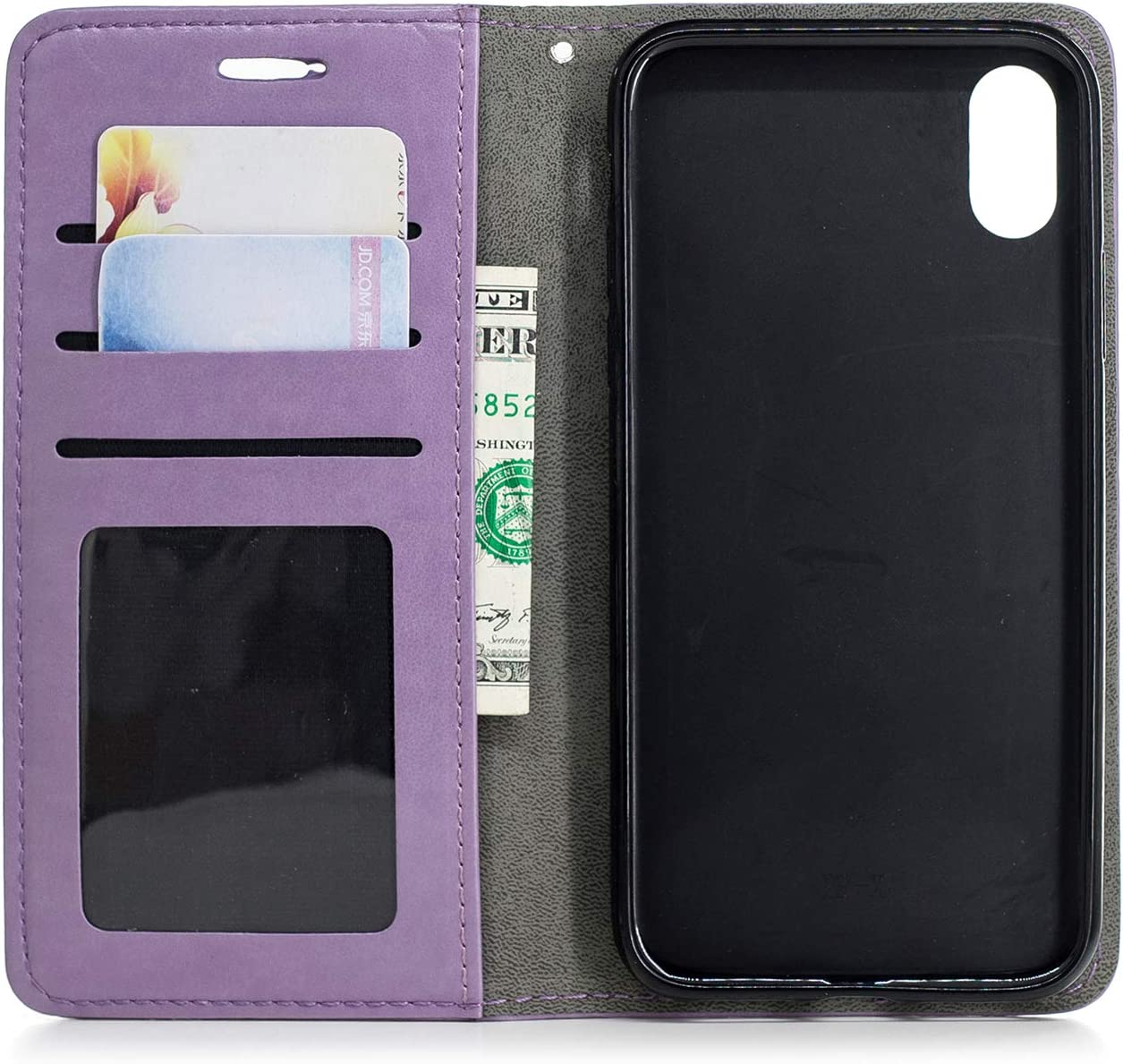 Herbests Compatible with iPhone XS//iPhone X Wallet Case Cute Retro Cat Fish Embossed Pattern Stand Flip Leather Case Full Body Protective Phone Case with Kickstand Credit Card,Purple