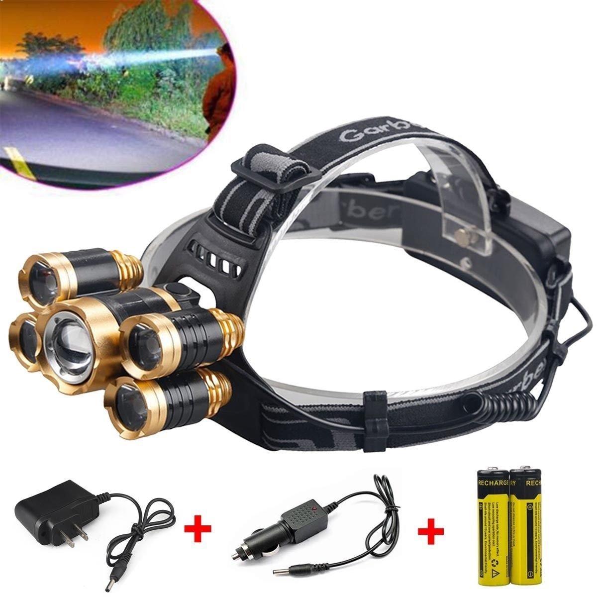 80,000Lumens 5x XM-L T6 LED Rechargeable 18650 Headlamp Head Light Torch Lamp USA