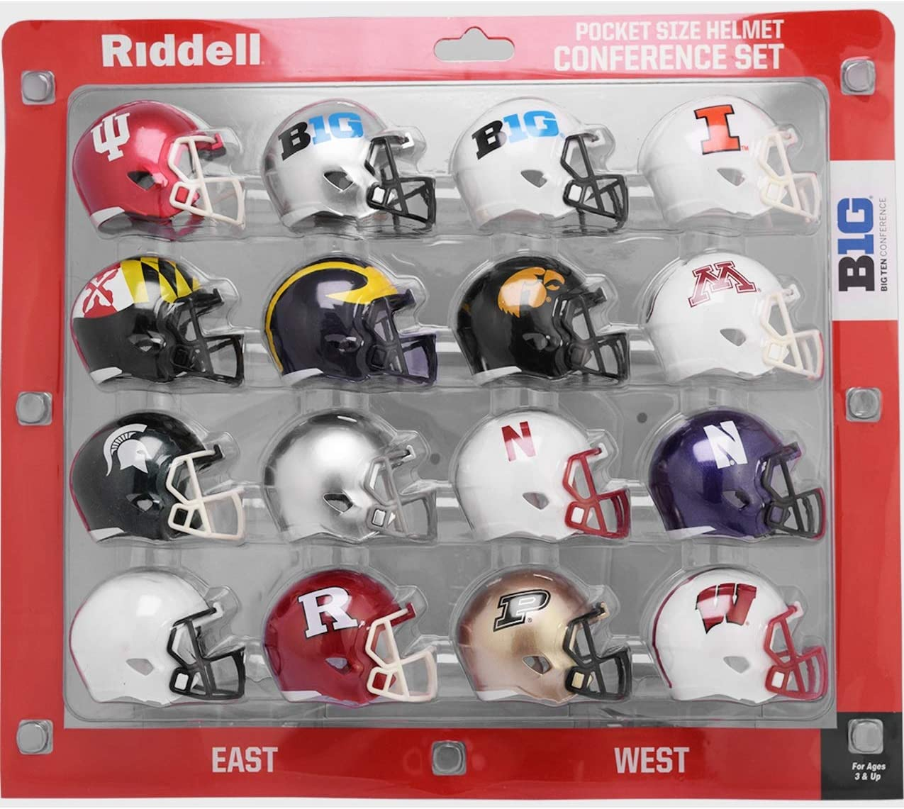Riddell NCAA Pocket Pro Helmets, Big Ten Conference Set, (2020) New, Assorted : Sports & Outdoors