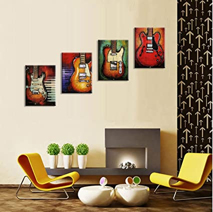 Amazon com viivei wall art abstract guitar canvas red purple prints paintings home decor decal life pictures 4 panel large posters hd printed for bedroom