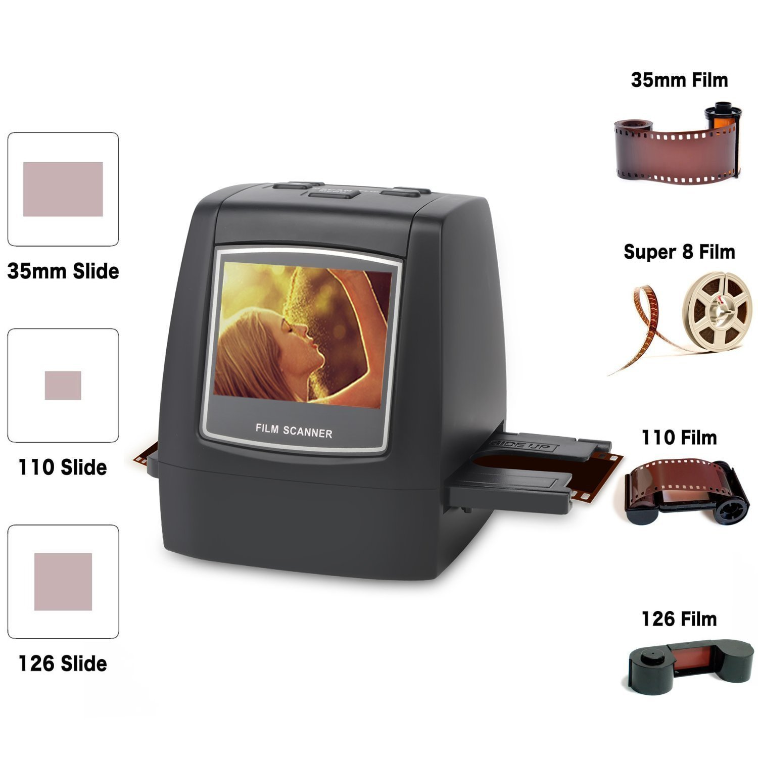 DIGITNOW Film scanner with 22MP Converts 126KPK/135/110/Super 8 Films, Slides, Negatives into Digital Photos,2.4'' LCD Screen, Impressive 128MB Built-In Memory