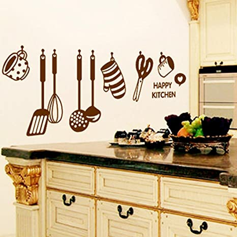 Amazon.com: PHOTNO DIY Removable Happy Kitchen Wall Decal ...
