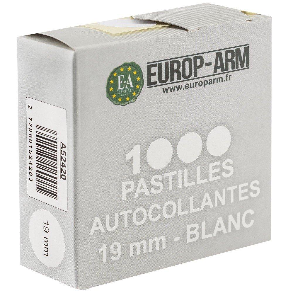 Europ-Arm Pastilles Autocollantes Blanches 19 mm