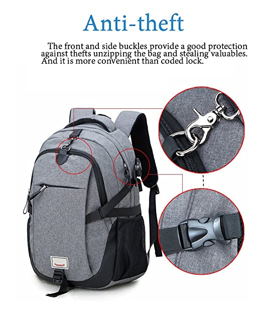 ad52a8188ce Amazon.com  Anti-theft Laptop Backpack, Loaged Business Bags with USB  Charging Port Water Resistant School Bookbag for College Travel Backpack  for 15.6-Inch ...