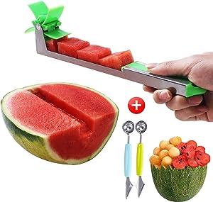 Watermelon Windmill Cutter Slicer - Stainless Steel Knife Tool for Salads Desserts Watermelon Slicer Fruit Cutter Kitchen Utensils Gadgets Extra Large Duty Slicer Metal Cutter Set (Combination 1)