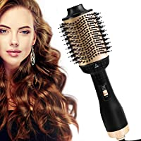 AU Plug Upgraded Golden One-Step Hair Dryer & Volumiser Hot Air Brush, Multifunctional Oval Hair Dryer & Volumising Styler Comb Negative Ion Generator Straightener Curler for All Hair Types