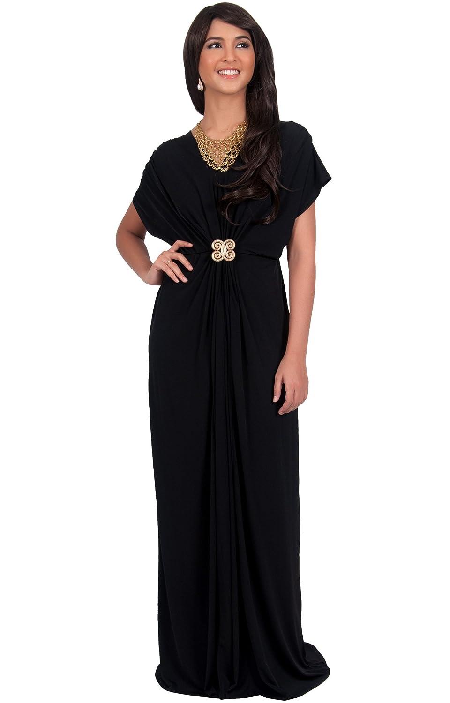 70s Prom, Formal, Evening, Party Dresses KOH KOH Womens Long V-Neck Short Sleeve Semi Formal Wedding Gown Maxi Dress $39.95 AT vintagedancer.com