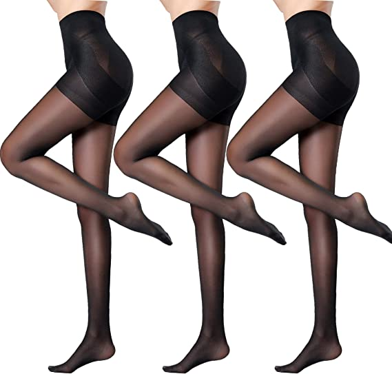 S, M, L, XL 3 Pairs NYLONZ Seamed Sheer To Waist Pantyhose Tights BLACK