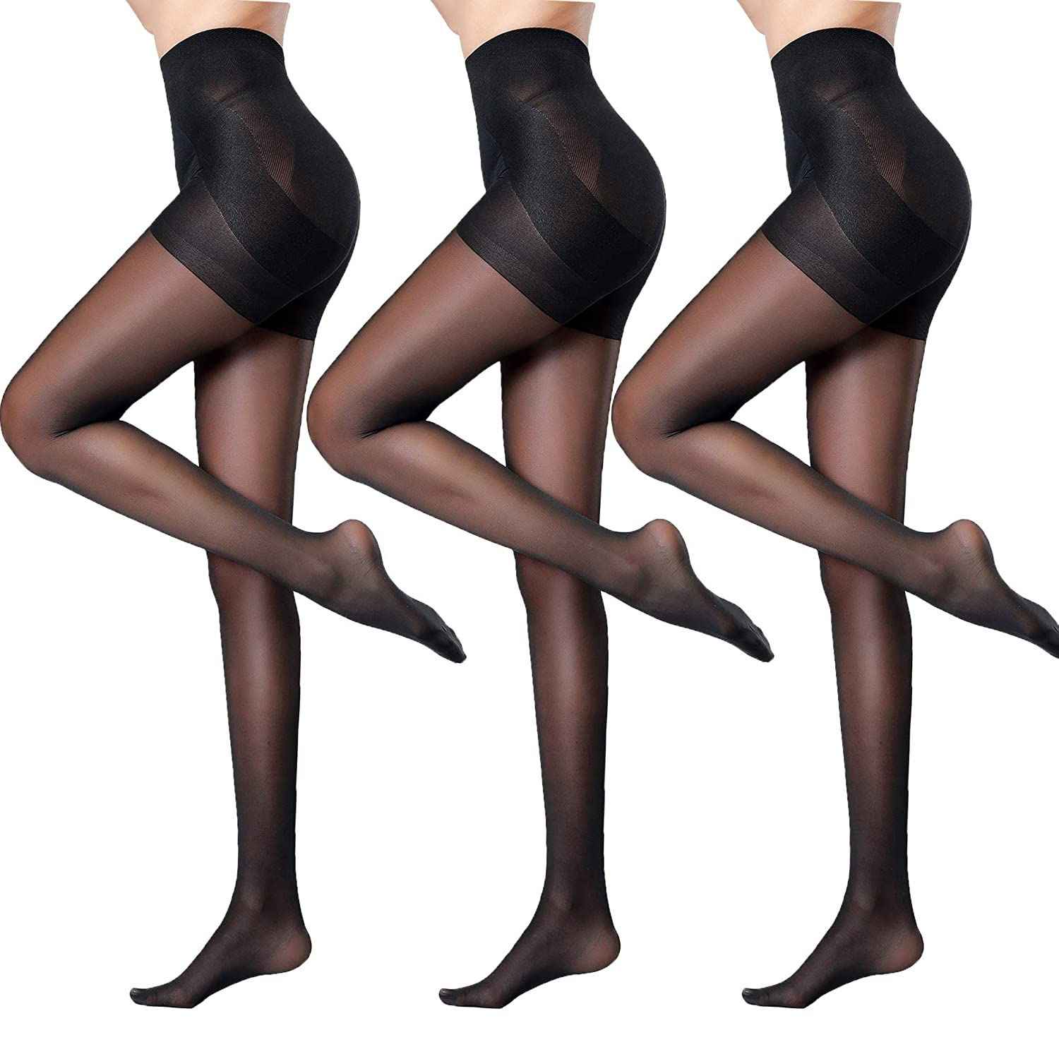 Black,3 Pairs Pantie Credch PantyhoseWomen's Semi Sheer Control Top Back Seam & T Credch Tights Pack of 3