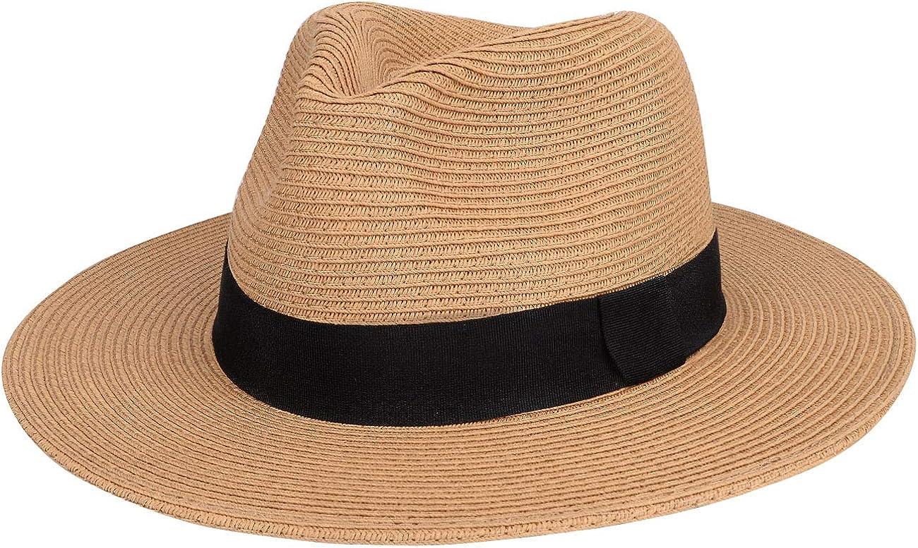 Maylisacc Traditioneller Rollbare Panama Hut mit Breiter Krempe Atmungsaktiv Sommer Handgemacht Strohhut Herren Fedora Sonnenh/üte mit Schwarzem Band Verstellbar