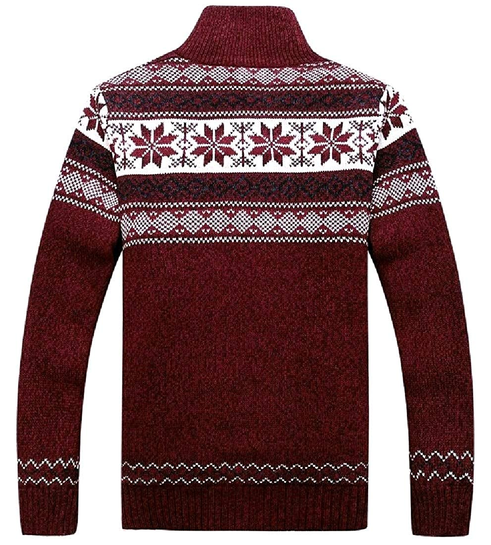 YUNY Mens Suede Thickening Printed Bodycon Pullovers Sweater Red 2XL