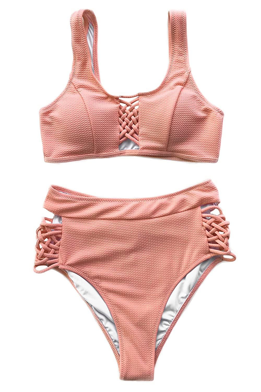 Cupshe Fashion Women's Delicate Darling Lace Up High Waisted Swimsuit Beach Swimwear Bathing Suit by Cupshe