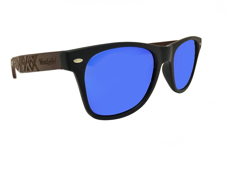 15191ac4e Amazon.com: WoodofArt Wood Polarized Sunglasses For Men & Women Wayfarer  Shades Bamboo Case (Black, Blue Mirror): Clothing