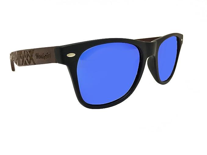 cc067ddb9c WoodofArt Wood Polarized Sunglasses For Men   Women Wayfarer Shades Bamboo  Case (Black