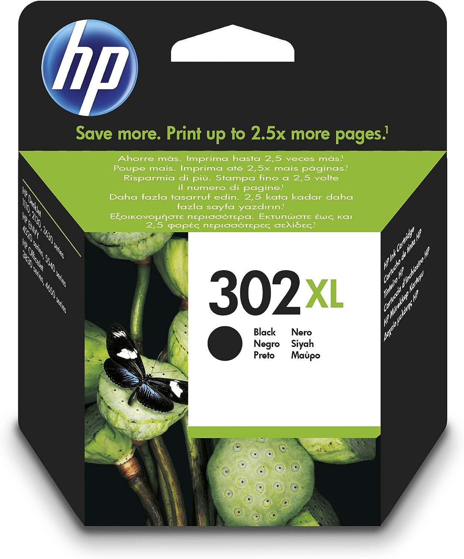 HP 302XL F6U68AE, Negro,. Cartucho de Tinta de Alta Capacidad Original, compatible con impresoras de inyección de tinta HP DeskJet 1110,2130,3630; ENVY 4520; OfficeJet 3830,4650,5220,5230