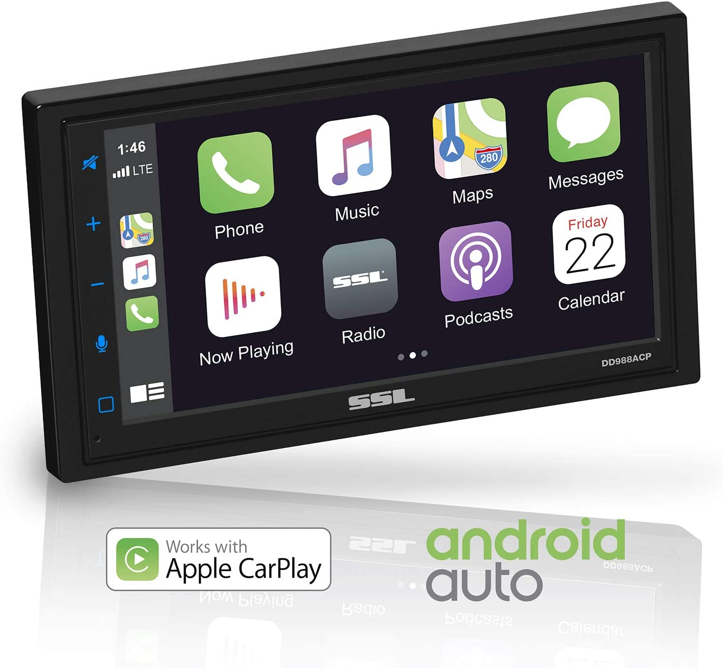 Sound Storm DD988ACP Apple CarPlay Android Auto Car Multimedia Player - Double-Din, 6.75 Inch LCD Touchscreen, Bluetooth, MP3-USB-Aux in, No CD-DVD, AM/FM Car Radio, Multi Color Illumination
