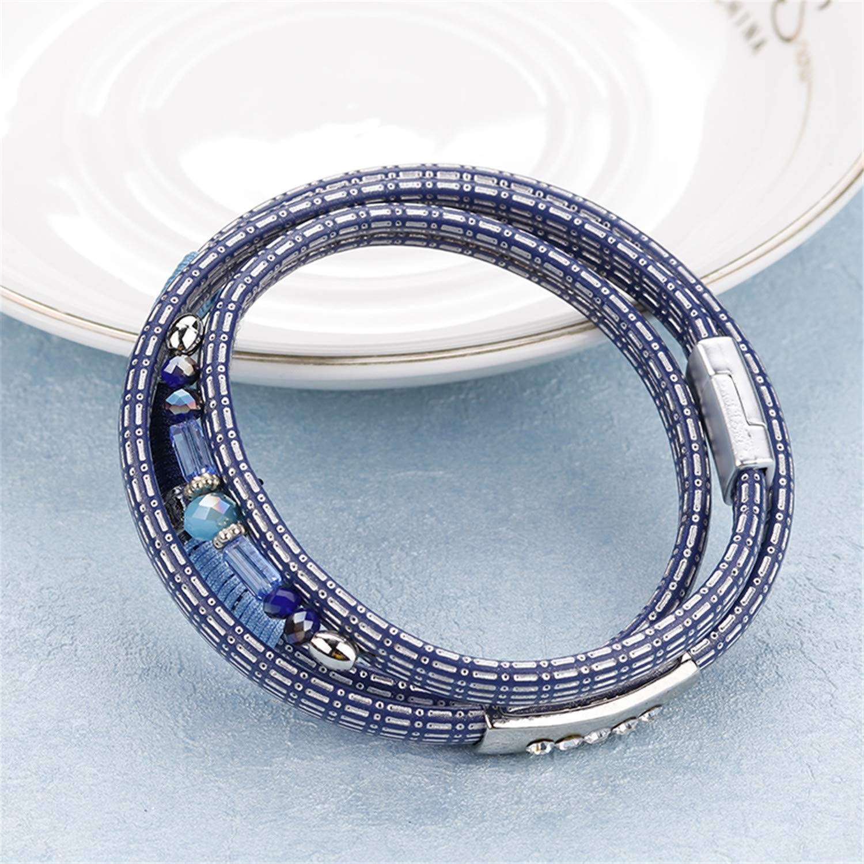 freedomer Blue Plaid Leather Bracelets for Women Trendy Handmade Bohemian Alloy Rhinestone Charm Multilayer Bracelet Femme Jewelry