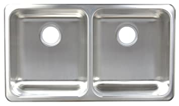 Franke A1933/9 Double Bowl Dual Mount Kitchen Sink, Stainless Steel