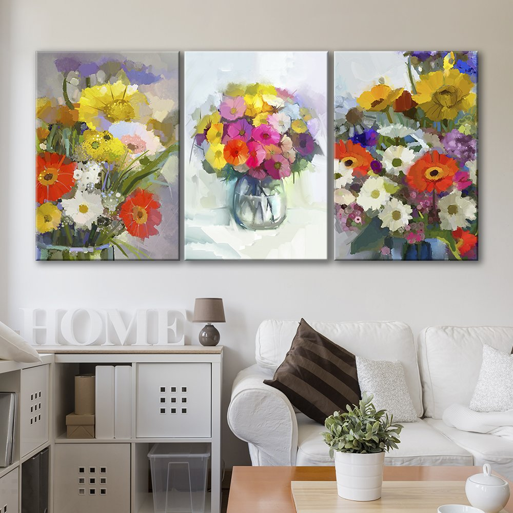 3 panel oil painting style colorful flowers x 3 panels canvas art
