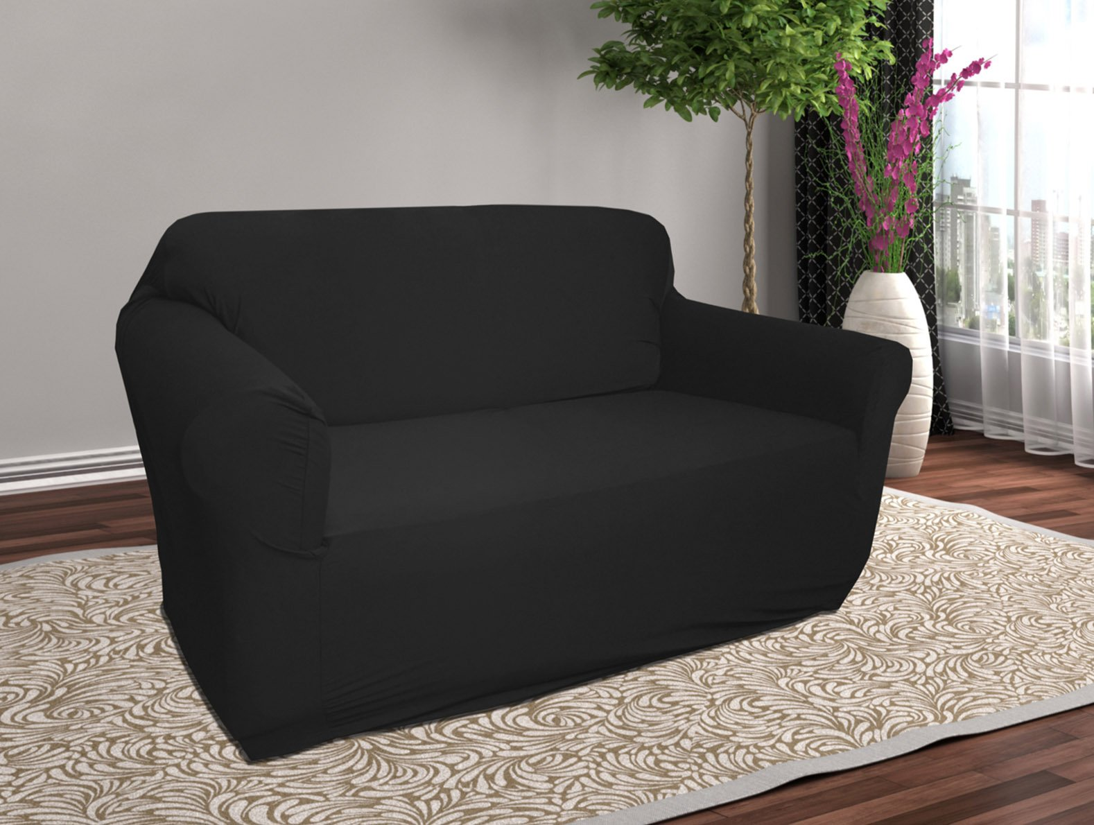 Linen Store Stretch Jersey Slipcover, Soft Form Fitting, Solid Color (LOVESEAT, BLACK)