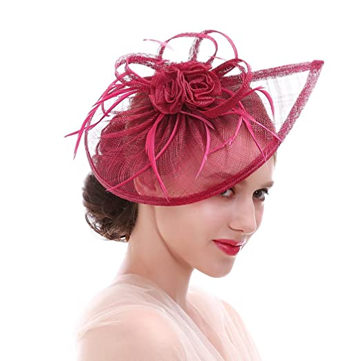 43c90a79960 HNBQMX Sinamay Fascinator Hat Cocktail Headwear for Bridal Headpiece with  Veil (A-New Rose