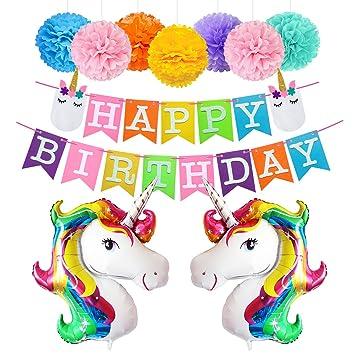 amazon happy birthdayバナーユニコーンバルーンティッシュペーパー