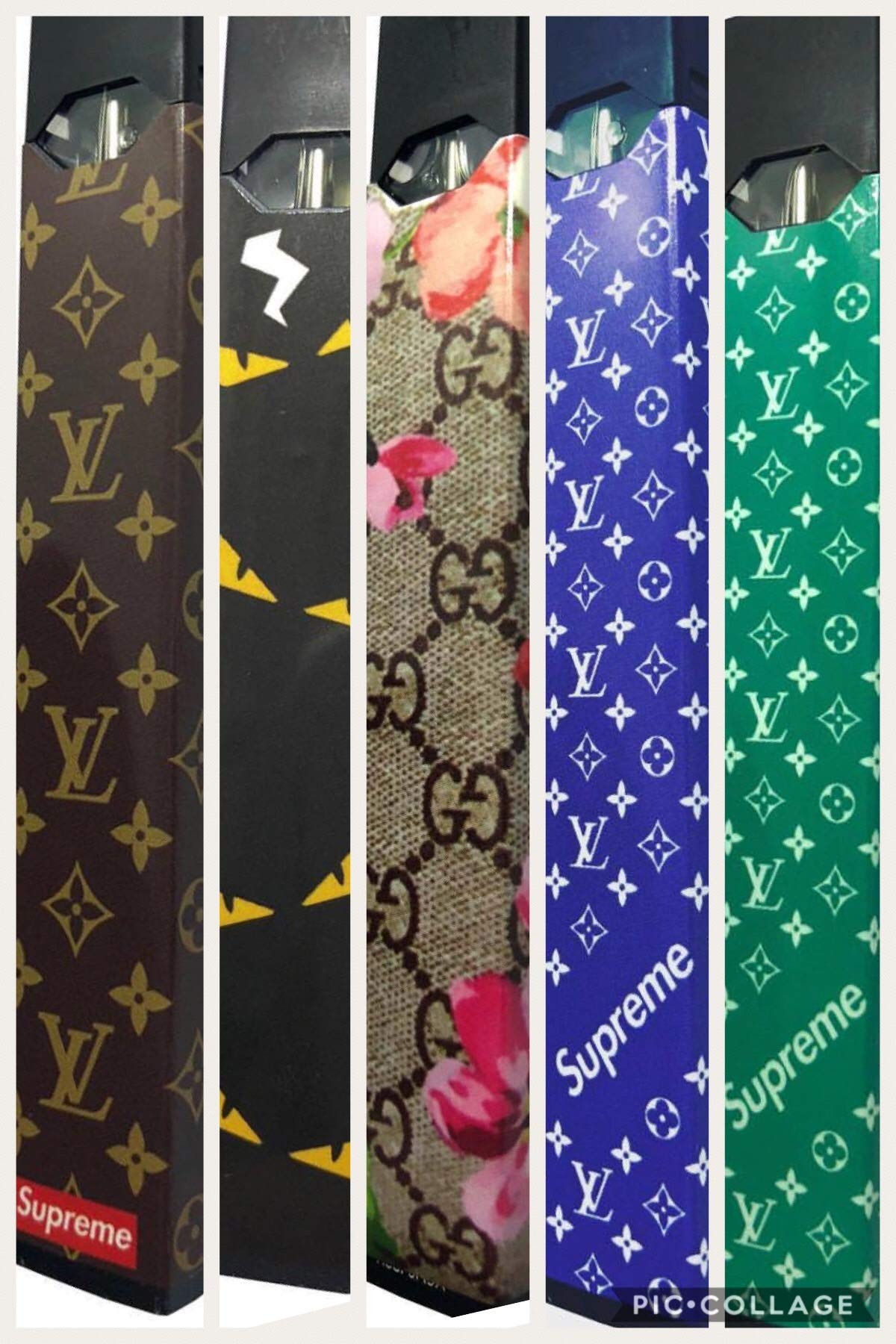 WRAP THAT (5 JUULWRAP Pack) (5 Different juul Skins Included) LV Brown - LV  Blue - LV Teal - Gucci Floral - Fendi
