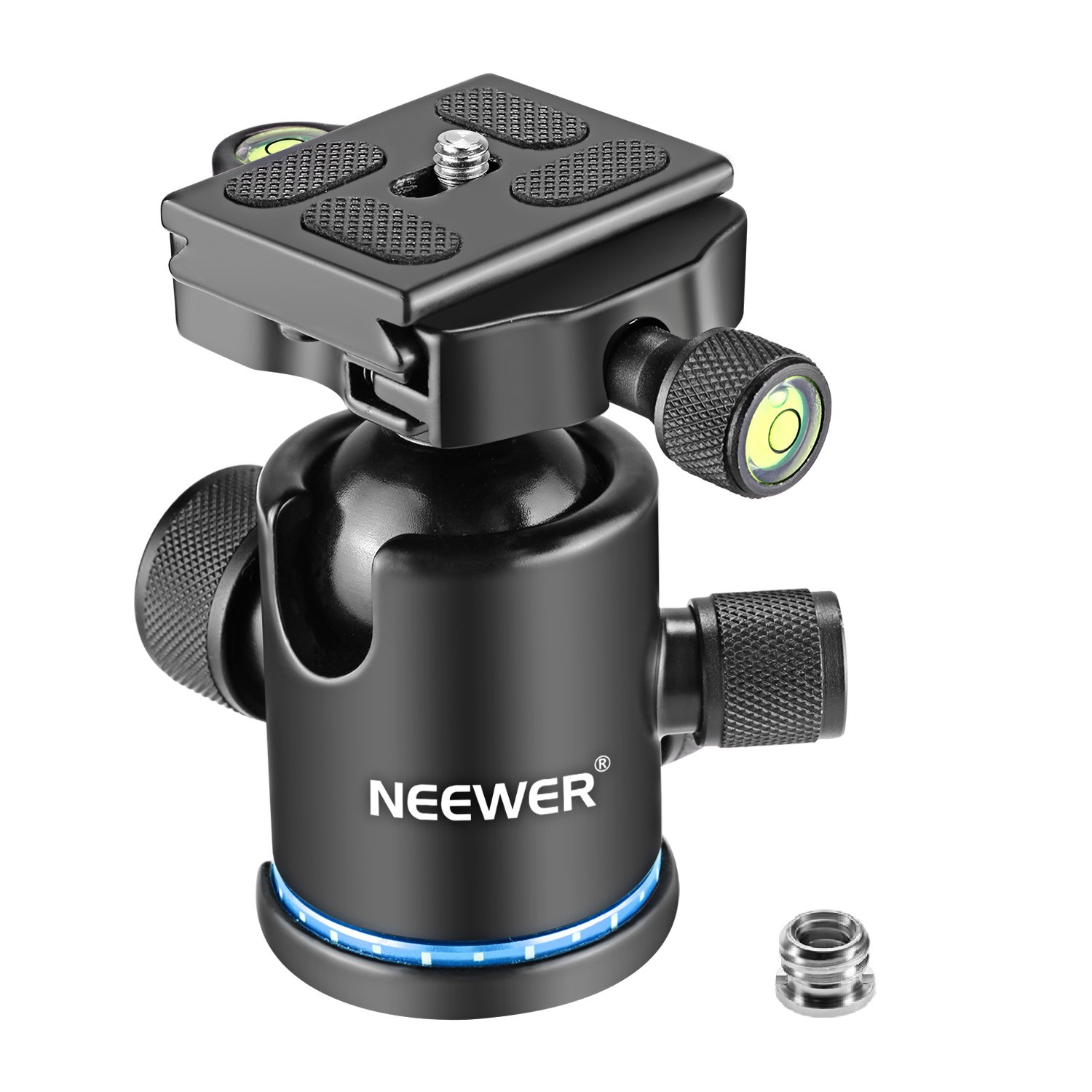 Neewer Professional Metal 360 Degree Rotating Panoramic Ball Head with 1/4 inch Quick Shoe Plate and Bubble Level,up to 17.6pounds/8kilograms,for Tripod,Monopod,Slider,DSLR Camera,Camcorder(Blue) by Neewer