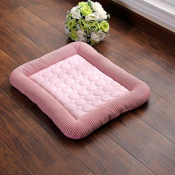 Aolvo Almohadilla de refrigeración/colcha/cama para perros y gatos, cama extra grande, borde como almohada, tela fría, no tóxico, fácil de limpiar, ...