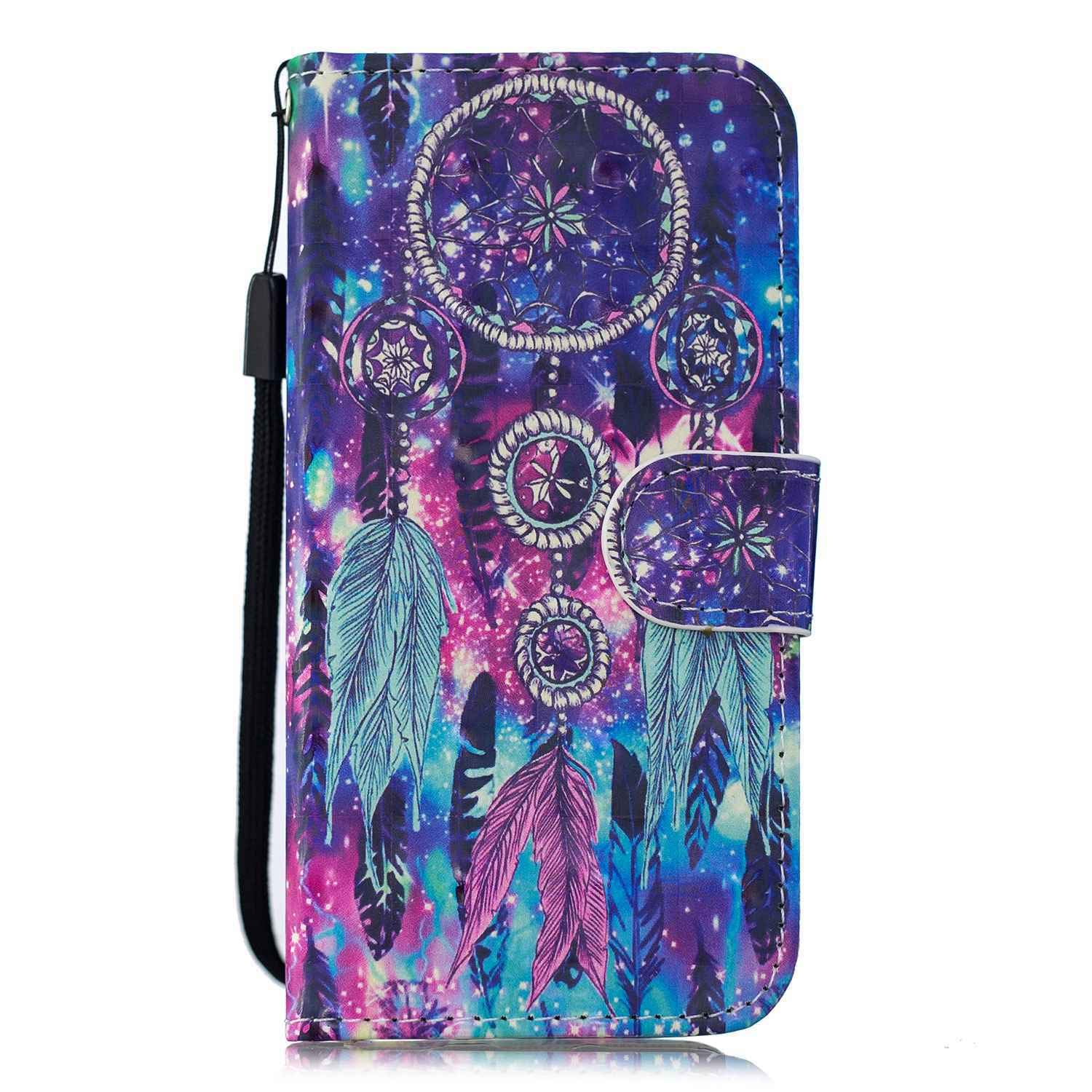 Reevermap Samsung Galaxy A10 Case Leather 3D Cover Shockproof Flip Wallet Card Slots Premium Kickstand Notebook Magnetic Closure for Samsung Galaxy A10 Colorful Feather