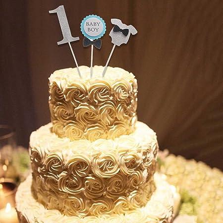 First Birthday Cake Topper Baby Boy Dusche Kuchen Deko Set Silber Amazonde Kuche Haushalt