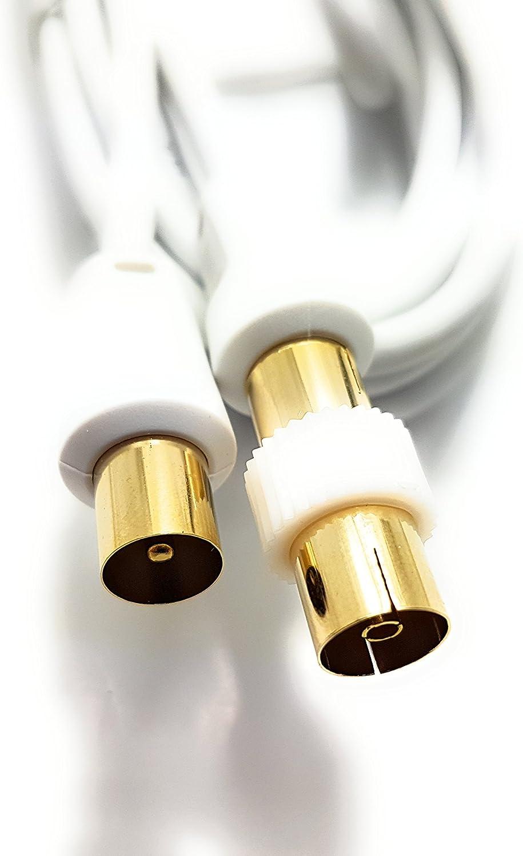 Cable de antena TV de color blanco y metal chapado en oro con acoplador conector RF MainCore 1,8 m blanco