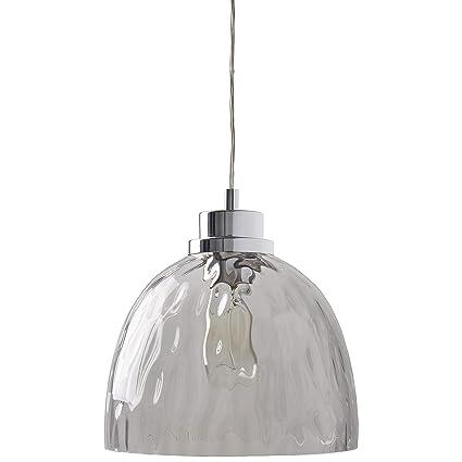 Rivet Modern Textured Glass Bowl Pendant W Bulb 13 60 H Chrome