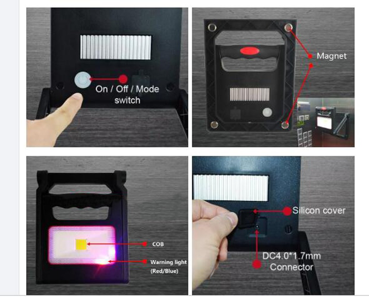 AliTronics Rechargable and Portable 10W Led Work Light Emergency and Flashlight Function,Folding and 360 degree Adjustable