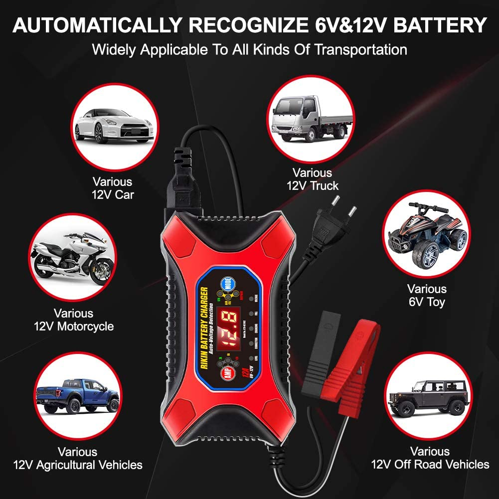 Rikin Autobatterie Ladegeräte 6v 12v 12a Automatisches Intelligentes Schnelles Batterieladegerät Erhaltungsladegerät Mit Lcd Bildschirm Multifunktional Für Auto Und Motorrad Auto