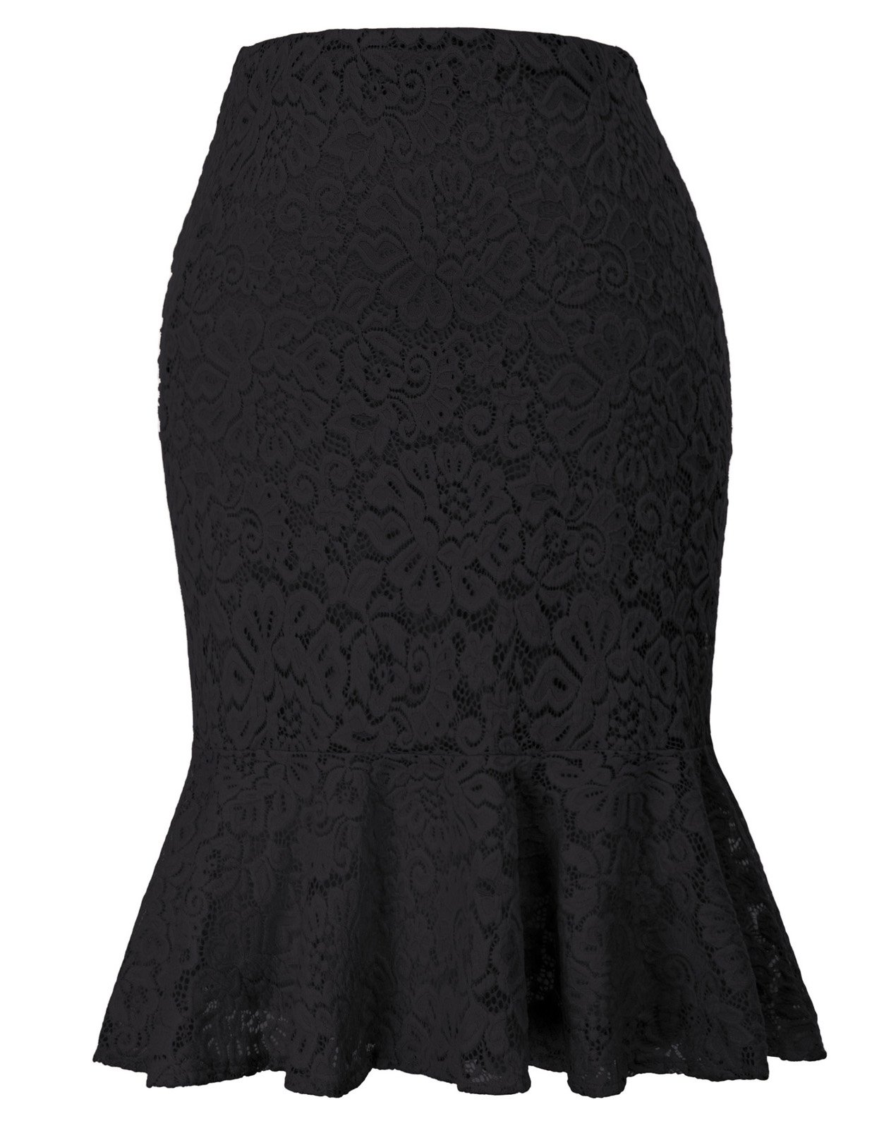 GRACE KARIN Women's Vintage Wear to Work Ruffle Lace Bodycon Mermaid Pencil Skirt Black M