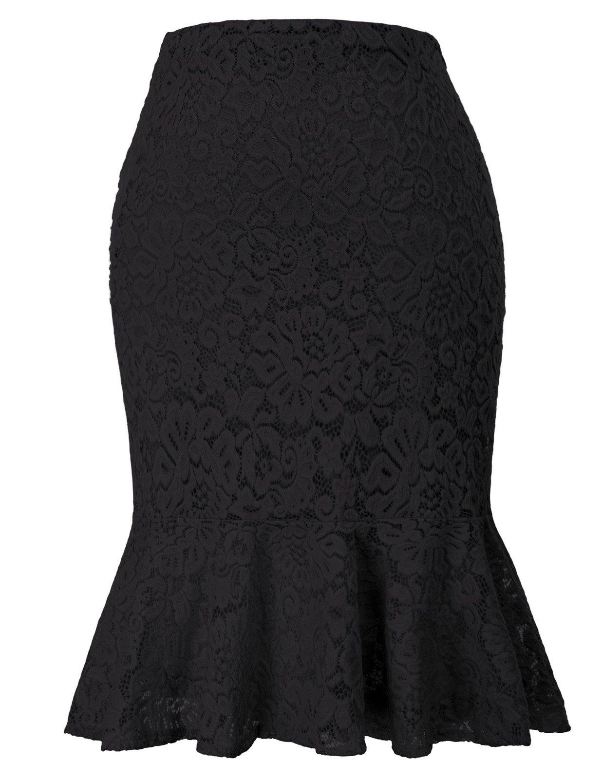 GRACE KARIN Women Slim Fit Pencil Skirt for Office Wear Above The Knee Mermaid Skirt Black L