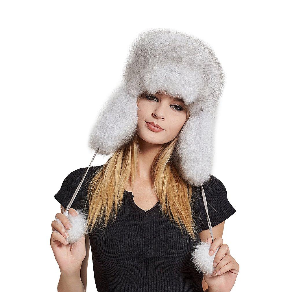 Fur Story Women's Real Fox Fur Hats Sheep Leather Earmuffs Warm Winter Hats