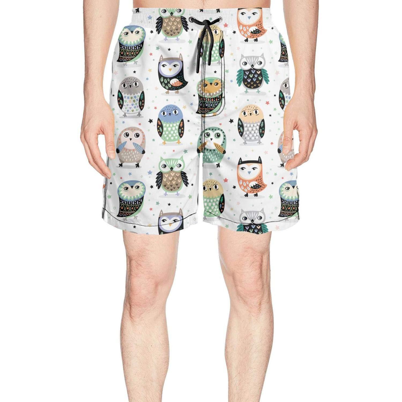 Novelty Cartoon Snowy Owls Nursery Loose Men's Short Beach Shorts